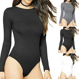 Bodysuit elástico preto on-line-Sexy preto Bodysuit Gola Redonda das Mulheres Manga Longa Elastic Macacão corpo mujer Macacão Bodysuit Macacão Praia Para Senhoras