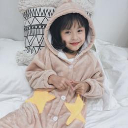 2020 largo camisón de lana Niñas 2019 vibrando el mismo párrafo otoño e invierno estrellas camisón largo coral polar pijamas casual casa camisón DK337 largo camisón de lana baratos