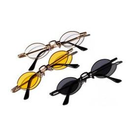 старинные круглые очки Скидка Унисекс маленькие овальные винтажные солнцезащитные очки мода вождения творческий металлический каркас очки ретро на открытом воздухе крошечные круглые узкие очки LJJT311