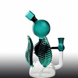 Два мяча онлайн-Новый дизайн листьев прекрасные стеклянные бонги с тремя шариками два листа нефтяных вышек Высота водопроводных труб 8 дюймов совместный размер 14.4 мм стеклянные кальяны