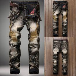2019 jeans moderni per gli uomini Foro di jeans da uomo vintage Denim Fold Lavare lavoro sfilacciato cerniera stampato pantaloni di base vendita calda di alta qualità 2019 nuovi modelli moderni sconti jeans moderni per gli uomini