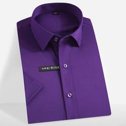 Chemises habillées en fibre de bambou en Ligne-Nouvel été 2019 hommes chemise à manches courtes en fibre de bambou couleur pure matériau souple non-fer hommes d'affaires smart chemise décontractée