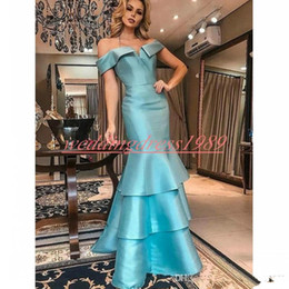robes red carpet Promo Codes - 2020 Stunning Blue Satin Mermaid Evening Dresses Dubai Off Shoulder Tiered Occasion Arabic Plus Size Party Prom Robe De Soiree Pageant Gowns