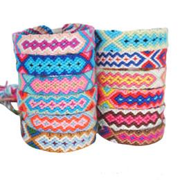 Hippie armbänder online-Böhmische Thread Armband Retro handgemachte Boho Multicolor String Cord Woven geflochtene Hippie Freundschaftsbänder Frauen Männer