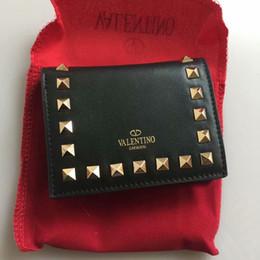 Clips de remache online-Remache billetera de calidad superior de Las Mujeres Clip de la marca de Cuero Genuino Monedero Masculino Femenino corto Monedero con cremallera Monedero con CAJA