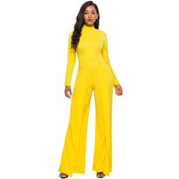 014b9602ca2a Jumpsuits for Women 2018 Solid Color Stretchy High Neck Zipper Long Sleeve  Overalls High Waist Wide Legs Combinaison Pantalon