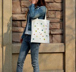 2019 sacos estampados de algodão para menina Sacos de Compras de Lona das mulheres Universo Impresso Pano De Algodão Sacos de Ombro Bolsas Casuais Tote para Meninas Com Zíper sacos estampados de algodão para menina barato
