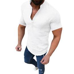 Elegantes blusas de algodón online-Nuevo diseñador de moda camiseta elegante de los hombres blusa de algodón de lino camiseta de los hombres tops sueltos de manga corta camiseta mayo