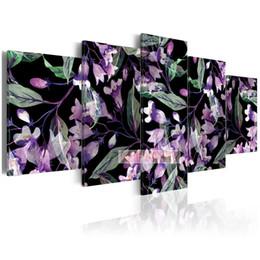 2019 i telai del robot Foglie fiori quadri di diamanti Quadri 5 Pezzi astratti Sfondo Squisito Home Decor 3d ricamo mosaico diamante foto