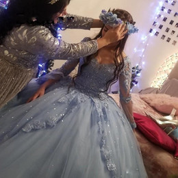 Elegant Ball Gown Sweet 16 Quinceanera Dresses Long Sleeve Lace Tulle Prom Debutante Sixteen 15 Dress Vestidos De 15 Anos