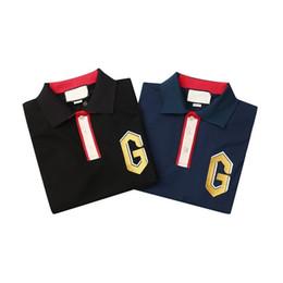 Europäische polohemden online-Polo-Shirts Luxus europäischen Designer T-Shirt Herren Damen Paar Schwarz Blau Hochwertige Mode Marke Casual Tee HFSSTX186
