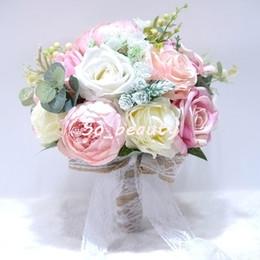 fã de ouro rosa Desconto Peônia Hortênsia Bouquet De Noiva Buquês De Casamento Noiva Menina Flores Festa Em Casa Decoração Mesa Falsa Flor Multi cor