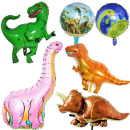 2019 mezcla de globos de aluminio Papel de Dinosaurio Gigante Globo Niños Globos Animales Fiesta de Dinosaurio para Niños Decoraciones de Cumpleaños Globos de Helio Juguetes para Niños Estilo Mixto DHL mezcla de globos de aluminio baratos