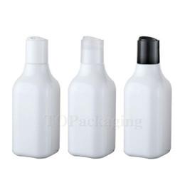 Weiße kappenschrauben online-Wholesale-30PCS-200ML Press Schraubverschluss Flasche, weißer Kunststoff-Kosmetikbehälter, leere Serum-Sub-Abfüllung, Probe Shampoo-Flasche, quadratische Flasche