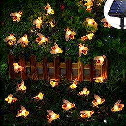 2019 luces de cadena de patio solar Little Bee Led Twinkle Light Energía solar Exterior Impermeable Decoración de jardín Patio Luces de cadena Nuevo llega Venta caliente 15md J1 luces de cadena de patio solar baratos