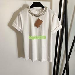 Pipa blusa online-mujeres niñas de gama alta camiseta con manga corta tops jersey camisa de la blusa tee diseño de lujo de la manera de cadena cristalino patchwork tuberías tripulación cuello