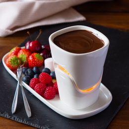 Ceramic Chocolate Fondue Set Fire Keep Coffee Warm Pot Ice Cream Pot Set Ice Cream Pot Cheese