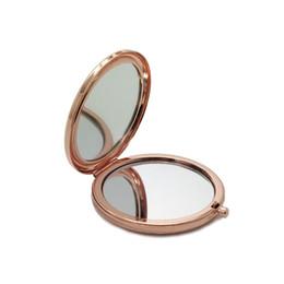 2019 косметический карман Двойное боковое карманное зеркало для макияжа Металл Серебро Золото Розовое золото Косметическое зеркало Увеличительное средство для красоты HHA219 дешево косметический карман