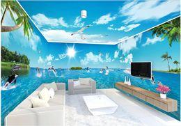 2020 fondo de pantalla de la casa blanca Sala 3d wallpaer mural personalizado Foto cielo azul nubes blancas océano delfín casa entera fondo decoración murales de pared 3d papel tapiz para paredes 3 d fondo de pantalla de la casa blanca baratos