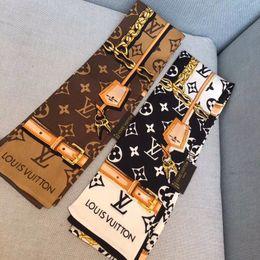 2019 Bolso de mano Pañuelos Bufanda de seda de seda imitada Pañuelo de poliéster Grúa Mujeres antiguas Imprimir Mango Bolso Cinta bufandas largas Envolturas desde fabricantes