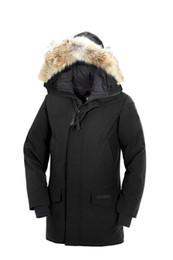 Bajada de chaqueta online-2020 Canadá Parkas lobo real abrigo de piel hacia abajo Guse Chateau marino Negro Hombres de Grey LANGFORD por la chaqueta de invierno abrigos Parka Venta Con Outlet