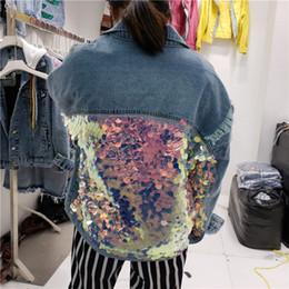 denim blue sequin jacket Desconto Mulheres Harajuku Denim Jaqueta Feminina Lantejoulas Splice Solto Jeans Casacos Azul Street Jeans Casacos