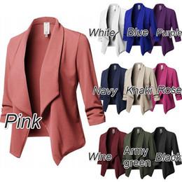 Coreano terno feminino on-line-Mulheres de Slim Casual Blazer Jacket Korea Suit Brasão Cardigans Puff luva das senhoras Autumn Plus Size 5XL Casual Lapel Collar Female Blazers Coats
