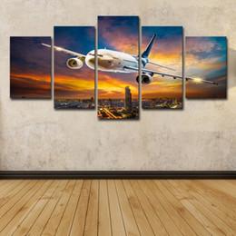 2019 flugzeug gemälde 5 stücke Sonnenuntergang Blauer Himmel Flugzeug Gemälde Flugzeug Wandkunst HD Print Leinwand Malerei Mode Hängende Bilder rabatt flugzeug gemälde