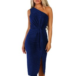 a6cf7fb8adab5f vestidos playa Sexy Womens Shouder Long Sleeve Sparkly Bodycon Slit Evening  Party Midi Dress dames jurken zomer dames