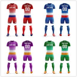 Jérsei de futebol personalizado on-line-2019 Conjuntos de Jersey de Futebol Personalizado Tops camisa de futebol camiseta Kits de Esportes Dos Homens da Juventude Ternos Camisas de Futebol Profissional Projeto Uniforme de Futebol