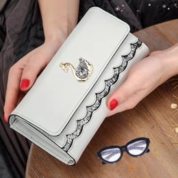 beliebte koreanische brieftaschen Rabatt Beliebte Stil Frauen Brieftasche koreanische Version PU Wasser Bohrer Schwan lange Brieftasche mit großer Kapazität Falthandtasche Kartentasche