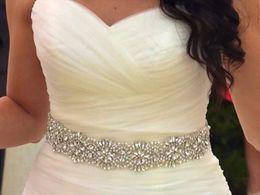 2019 schärpe gürtel applikation Perlen Crystal Strass Applique Bridal für Hochzeitskleid Gürtel Sash Ribbon 2019 Perlen und Kristalle Hochzeitskleid Schärpe rabatt schärpe gürtel applikation