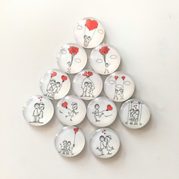 Imanes del corazón online-12 unids / lote Lindo Redondo de Cristal Imán de Nevera de Dibujos Animados Rojo Corazón Pegatinas de Mensajes para el Regalo Decoración Del Hogar