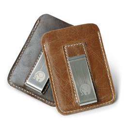 1af0e3955 Venta al por mayor Corium Leather Money Clip Metal Hombres Paquete de  tarjetas Rojo / Negro Billetes delgados Clips en efectivo Clamp Money Thin  Holder ...