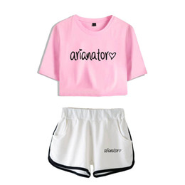 Tshirt kpop on-line-Frdun Tommy 2018 Nova Ariana Grande Verão Gril Top Curto Duas Peças Curtas Tshirt Calças Curtas Casuais Agradavelmente Kpop Harajuku Set Y19062601