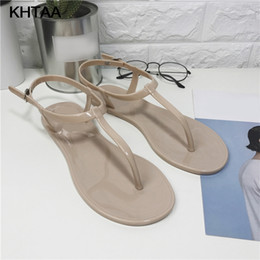 df5325f60 New Women T Strap Flat Ankle Buckle Thong Sandals Female Gladiator Flip  Flops Summer Beach Casual Fashion Vintage Shoes Jelly