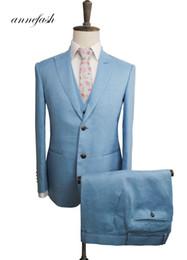 Льняные жилеты онлайн-Men's Tailor Made light blue linen Suit Sets Wedding Suit 3pcs (Jacket+Pant+vest)