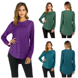 Frauen s band t-shirts online-Patchwork-Band-Frauen-T-Shirt Long Sleeve O-Ansatz T-Shirt Pullover Solid Color Shirts Bluse beiläufiges loses Unterhemd Weibliche Top Bekleidung S-2X