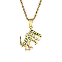joyas de dinosaurio de oro Rebajas Animación de dibujos animados Dinosaurio Colgante Collar Hip-hop Joyas para hombres y mujeres Oro Plata Nuevo Caliente