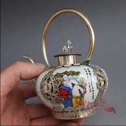 Античная белая медь фарфоровый фарфор восемь фея горшок украшения фляжка чайник украшения дома ремесло подарок коллекция антиквариата от