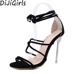 Canada vente en gros cristal clair talon femmes gladiateur rome sandales croix sangle bout ouvert talons hauts stilettos cheville wrap chaussures été 2019 cheap wholesale clear high heeled shoes Offre