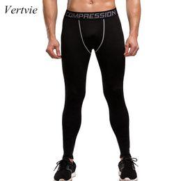 Leggings hasta los tobillos hombres online-Vertvie Fitness Men Running Mallas de compresión elástica alta Leggings deportivos Pantalones de secado rápido hasta el tobillo Tallas de gimnasio