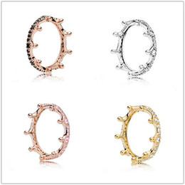 Модный серебристый шарм 925 онлайн-2018 Spring Pandora кольцо 925 Sterling Silver Rose Gold Pink Зачарованной Корона Кольцо Оригинал Мода DIY Подвеска ювелирных изделий для женщин Изготовления