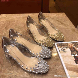 2019 amerikaner mode high heels 2019 neue Frauen Kleid Schuhe Nagelperlen europäischen und amerikanischen Stil High-End-Custom-High-End gedruckt hochhackige Schuhe Zarte Mode rabatt amerikaner mode high heels