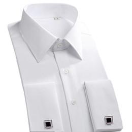 2019 botões formais do punho das camisas 2018 Novo botão de Punho Francês Homens Camisas de Vestido Clássico de Manga Longa Marca Formal Camisas de Moda Negócios camisa masculina Abotoaduras # 389084 desconto botões formais do punho das camisas
