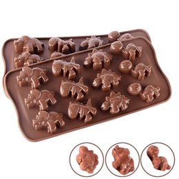 silicone animal cake mould Coupons - 12 Grids Creative Silicone Chocolate Molds Cute Animal Dinosaur Shaped Cake Baking Mould Fit Household Bakeware Tool 1 8tl E1