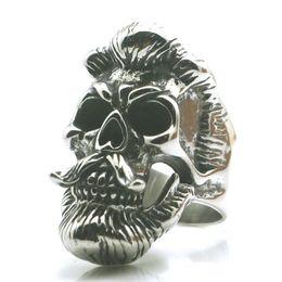 Größe 7 bis Größe 15 Herren Jungen 316L Edelstahl Cool Beard Vikings Schädel Neueste Ring von Fabrikanten