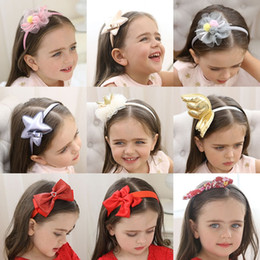 metallic cloth Promo Codes - Baby Girl Headband Headwear Children Head Hoop Kids Hair Sticks Bowknot Flower Gauze Floral Crown Cloth 28