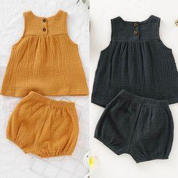 Bebek Kız Kısa Set Keten Pamuk Düz Renk Çocuklar Rahat Takım Elbise Yaz Kız Kolsuz Üst Kabak Şort Iki Parçalı Set cheap linen sets baby girl nereden keten setleri bebek kızı tedarikçiler