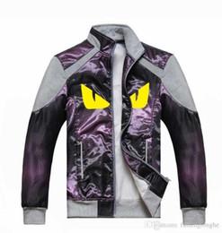 Европейский Стиль Желтый Глаз Pattern Дизайнер Одежды Мода Куртка Молния Девять Цветов Дополнительно Мужская Куртка Высокого Качества Ткани от
